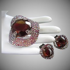 Wavy Topaz-Cranberry and Raspberry AB Rhinestones Pin Brooch and Earrings Set