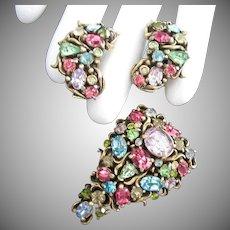 1950 Hollycraft Pastel Rhinestone Brooch and Earrings Set