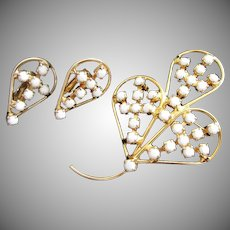 Milk Glass and Gold Tone Floral Spray Pin Brooch and Earrings Set