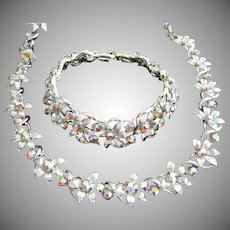 Coro Fiery AB Topaz Fall Leaves Necklace and Bracelet Set