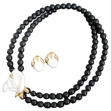 KJL Midnight Rose Black and White Beaded Necklace and Pierced Earrings Set, Kenneth J Lane for Avon