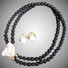 KJL Midnight Rose Black and White Beaded Necklace and Pierced Earrings Set, Kenneth J Lane for Avon