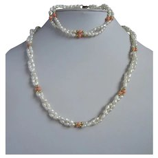 Lustrous Seed Pearls and Coral Necklace and Bracelet Set, 2 Strand Twisted Design