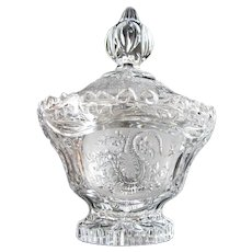 Rare Vintage Hofbauer Dragons in Clear Crystal Covered Candy Dish