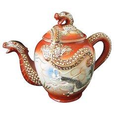 Vintage Japanese Dragon Ware Teapot, Satsuma Style Moriage Oriental Decor