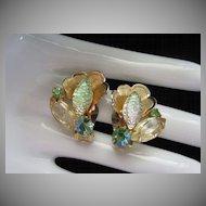 Juliana Pale Green and Citrine Rhinestone Earrings ~ REDUCED!