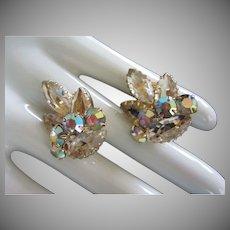 Vintage Juliana Champagne and AB Rhinestone Earrings ~ REDUCED!