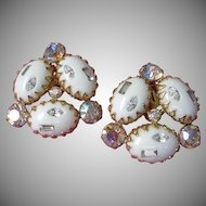 Vintage White Cabochons and AB Rhinestone Earrings ~ 1/2 OFF!