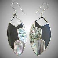 Alpaca Silver Mexican Abalone Dangling Pierced Earrings