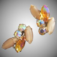 Vintage Topaz AB and Caramel Satin Rhinestone Earrings ~ REDUCED!