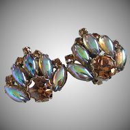 Topaz Rhinestones and Blue-Topaz Iridescent Earrings ~ REDUCED!