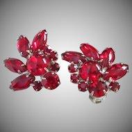 Dazzling Ruby Red Rhinestone Fan Shaped Earrings