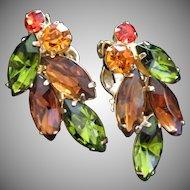 Olivine, Smokey Topaz and Hyacinth Rhinestone Earrings