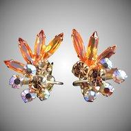 Incredible Hyacinth Orange, Topaz and AB Rhinestone Earrings