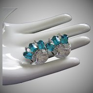 Sparkling Vintage Aquamarine and Silver Tone Earrings ~ REDUCED!