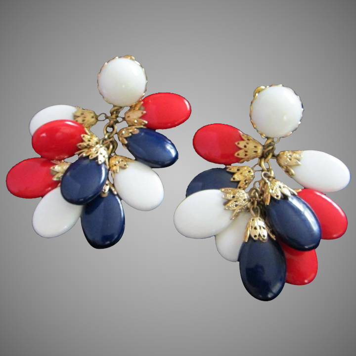 Vintage Napier Red White Blue Patriotic Dangling Earrings Reduced