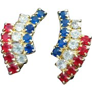 Petite and Patriotic Red, Clear and Blue Rhinestone Earrings ~ REDUCED!!