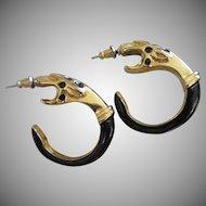 Final Markdown - Black Enamel & Gold Tone Snake Pierced Earrings, Signed