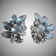Vintage Smokey Black Diamond Rhinestone and Glass Navette Earrings