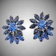 Final Markdown - Layered Montana and Capri Blue Rhinestone Earrings