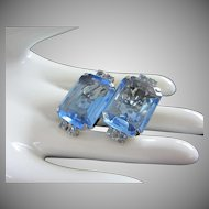 Dazzling and Large Sapphire Blue Open Back Rhinestone Earrings ~ REDUCED!