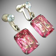 Fuchsia Astrological or Hieroglyphic Symbols Earrings ~ REDUCED!
