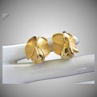 Trifari Gold Tone Roses Vintage Earrings