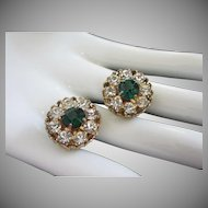 Vintage Coro Clear and Emerald Rhinestone Earrings ~ REDUCED!