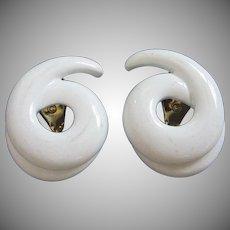 Monet Summer White Enamel Earrings