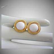 Napier White and Gold Tone Earrings