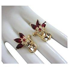 Vintage Coro Ruby and Clear Rhinestone Flower Earrings