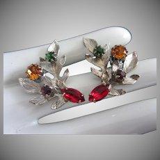Silver Tone and Rhinestone Leaves Pierced Earrings