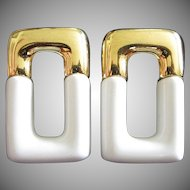 White and Gold Tone Rectangular Shaped Pierced Earrings ~ On Sale!