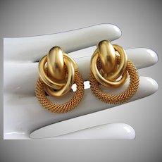 Mesh and Yellow Gold Tone Circle Earrings