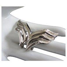 Trifari Winged Silver Tone Earrings