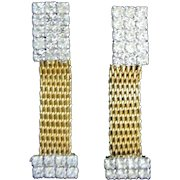 Gold Tone Mesh and Clear Rhinestone Dangling Vintage Earrings
