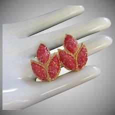 Vintage Paprika Sugar Coated Leaves Earrings