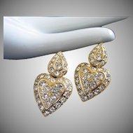 Nolan Miller Clear Rhinestone Heart Shaped Dangling Pierced Earrings