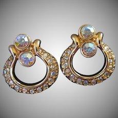 Swarovski AB Rhinestone Pierced Earrings