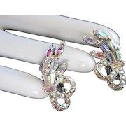 Pink Lavender AB Rhinestones Vintage Earrings in Silvertone