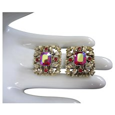 Coro Raspberry Aurora Borealis Rhinestone Vintage Earrings