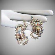 Light AB Rhinestone Loopy Ribbon Earrings