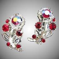 Lisner Ruby Red and AB Rhinestone Flower Vintage Earrings