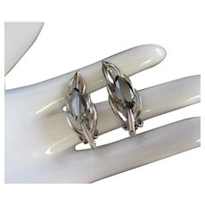 Hematite Navette Silver Tone Leaf Earrings, Clip On