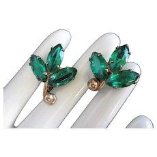 Sterling Silver and Emerald Rhinestone Leaf Earring
