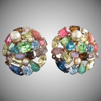 Vintage Large Rhinestone Multi Colored Earrings