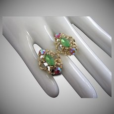Frosted Green and AB Rhinestone Clip Earrings