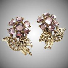 Vintage Lavender Rhinestone Flower Earrings
