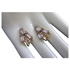 Vintage Lavender Rhinestone Screw Back Earrings