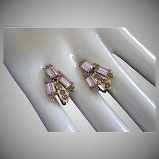 Vintage Lavender Rhinestone Screw Back Earrings